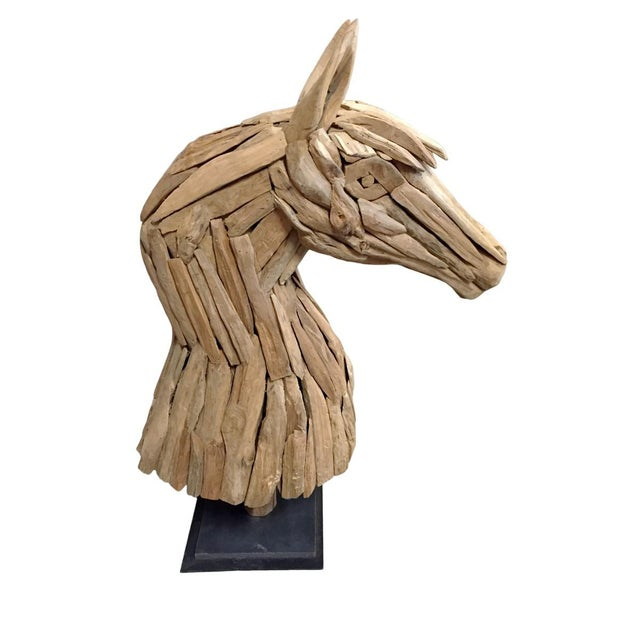 Salvaged Wood Horse Head Sculpture For Sale - Image 4 of 4