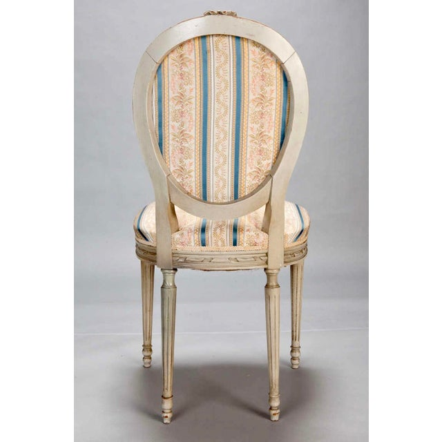 Set of 8 French Louis XVI Cameo Back Dining Chairs With New Upholstery - Image 6 of 7