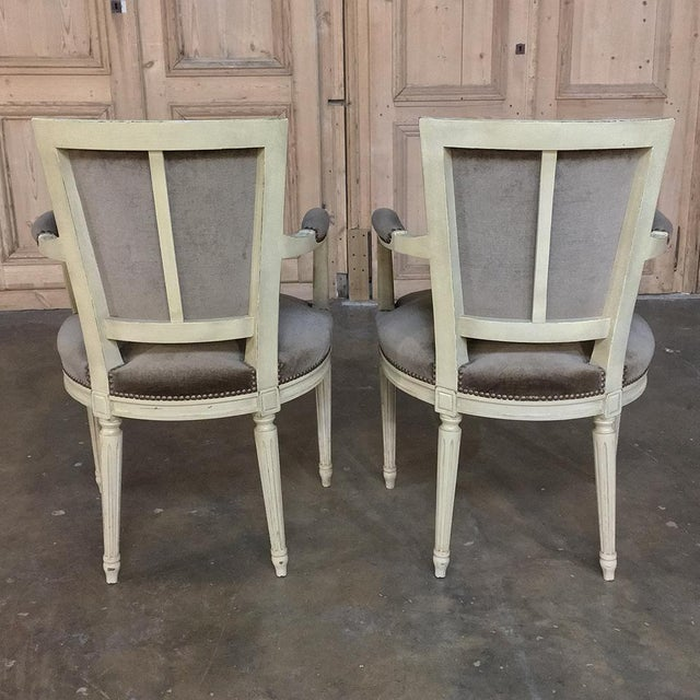 19th Century French Louis XVI Painted Armchairs - a Pair For Sale - Image 4 of 13