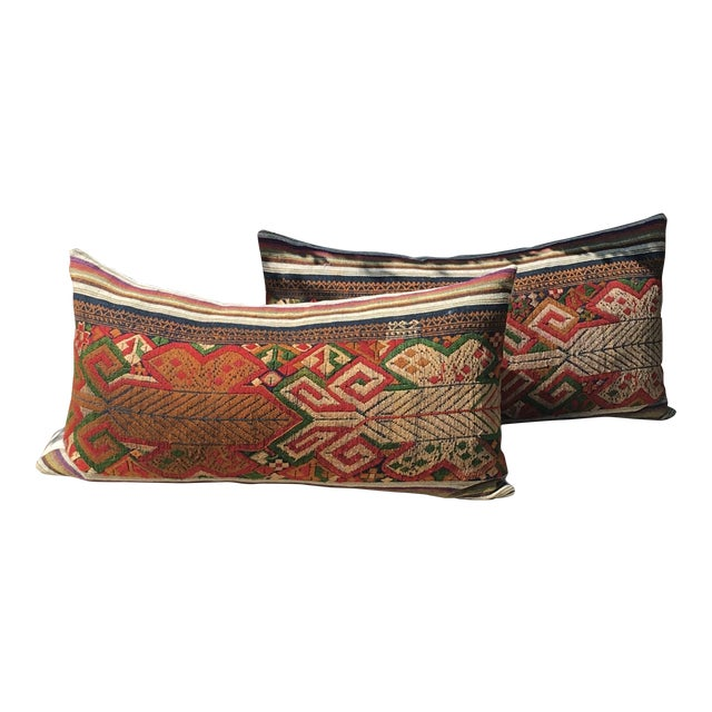 Vintage Handwoven Embroidered Pillows Northern Laos - A Pair For Sale