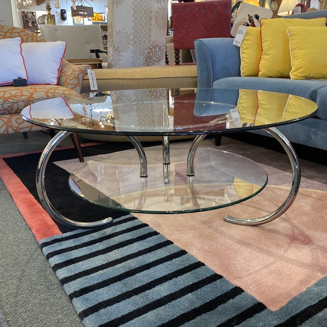 Mid 20th Century Glass & Polished Chrome Coffee Table For Sale - Image 12 of 12