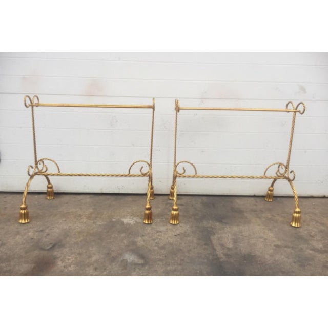Hollywood Regency Gold Gilt Tassel Metal Towel Rack - a Pair For Sale - Image 3 of 5