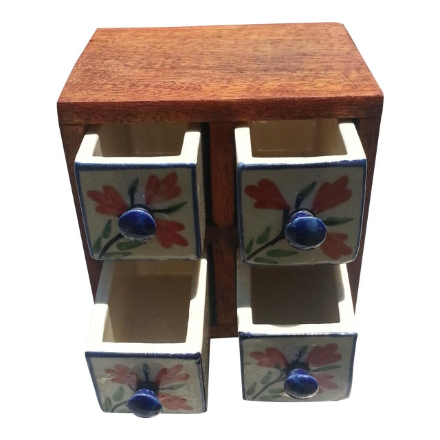 Vintage Wood Box With Porcelain Drawers For Sale