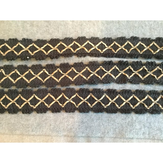 Boho Chic Kravet Black Flat Textile Trim With Beige Ultrasuede Diamonds For Sale - Image 3 of 5