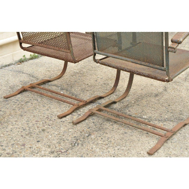 Green Vintage Steel Metal Mesh His and Hers Patio Bouncer Lounge Chairs - a Pair For Sale - Image 8 of 12