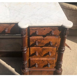 Antique Louis Philippe Burl Walnut Marble Top Dressing Table Desk Preview