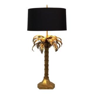 1950's Rare Warren Kessler Gilded Palm Tree Table Lamp For Sale