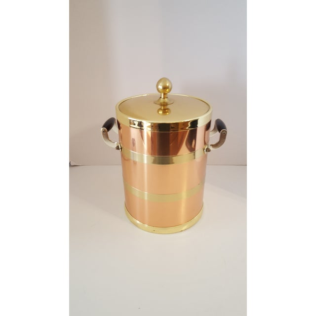 Brass Kraftware Elegance Copper 5 Quart Ice Bucket With Wood Bale Handles For Sale - Image 7 of 7