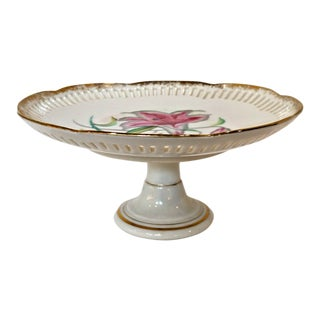 Vintage Mid-Century Bond Ware Floral Porcelain Pedestal Dessert Plate For Sale