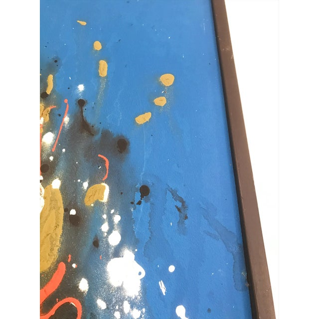 Paint Mid Century Modern Abstract Expressionist Original Painting Style of Jackson Pollock For Sale - Image 7 of 8
