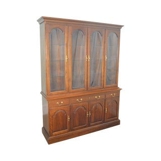 Stickley Cherry Chippendale Style Large China Cabinet Breakfront