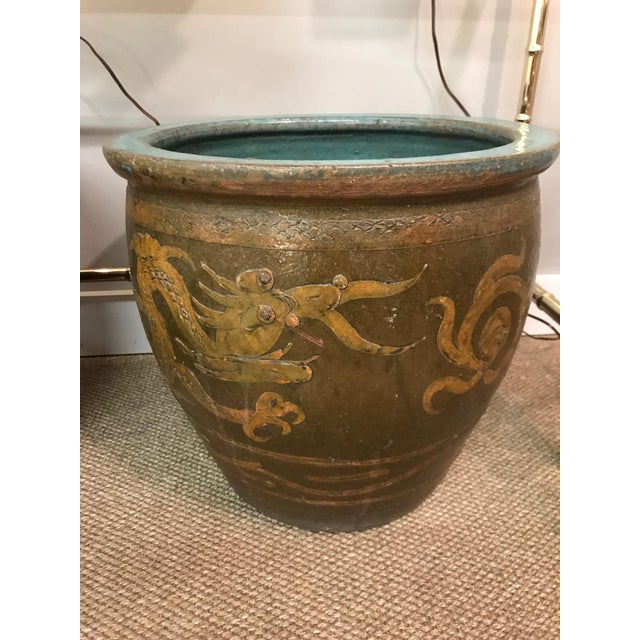 Asian Antique Chinese Clay Sculpted Dragon Egg Pot Planter For Sale - Image 3 of 6