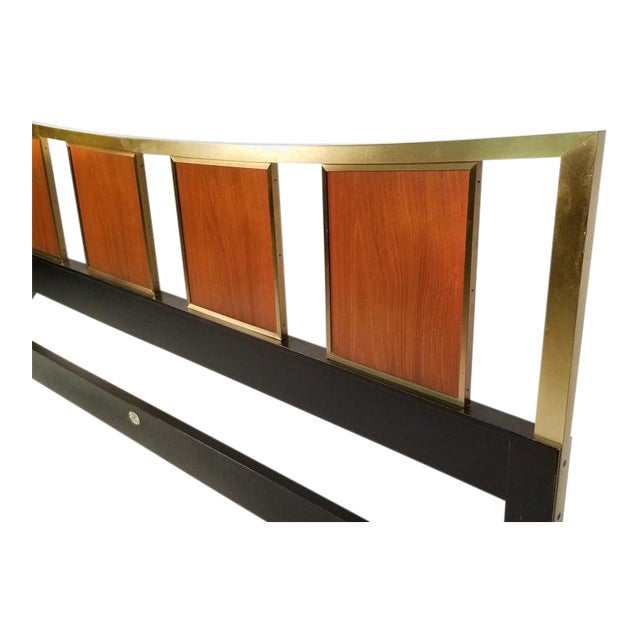 Gorgeous brass king size headboard with framed teak panels designed by Michael Taylor for Baker.