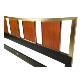Gorgeous Brass King Size Headboard With Framed Teak Panels Designed by Michael Taylor for Baker. For Sale