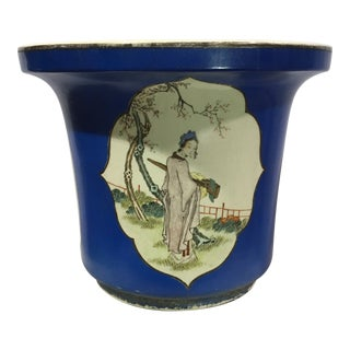 1960s Chinoiserie Asian Flower Pot For Sale
