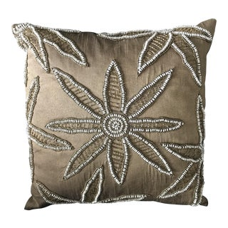 "16"" Moroccan Gold Embroidered and Beaded Floral Pillow"