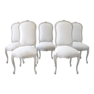 Vintage Mid-Century Painted and Upholstered Dining Room Chairs - Set of 5 For Sale