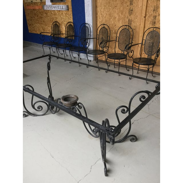 1900s Art Nouveau Indoor and Outdoor Iron Dining Set - 9 Pieces For Sale In Boston - Image 6 of 11