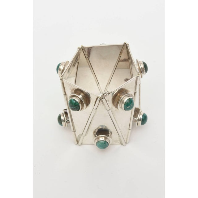 """This amazing and spectacular studio made one of a kind bracelet of Sterling Silver & Malachite, is a """"knock out""""! It was..."""