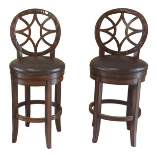 Early 21st Century Vintage Wood Swivel Bar Stools- a Pair For Sale