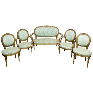 19th Century Walnut Parlour Set in the Louis XVI Type For Sale