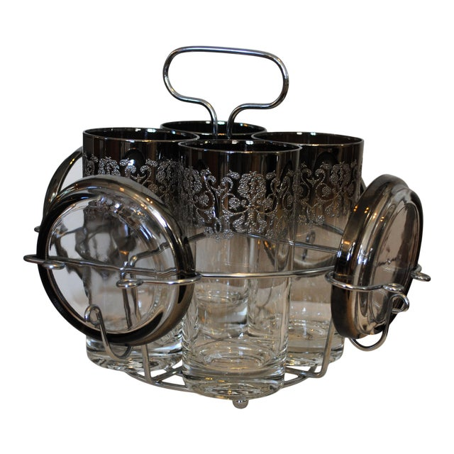 1940s Vintage Kimko Silver High Ball Glasses & Coasters with Caddy - Set of 4 For Sale