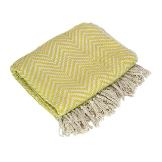 Canary Yellow Chevron Throw For Sale