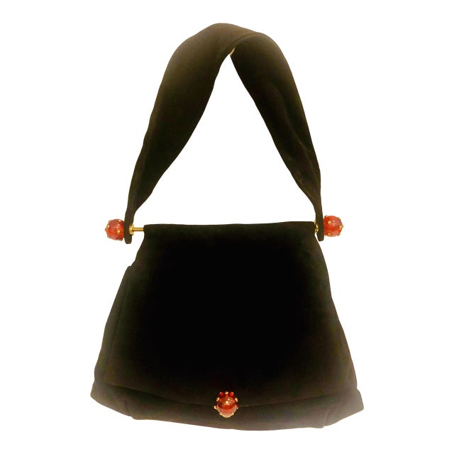 1930s Josef Suede Purse With Bakelite Ball Detail For Sale