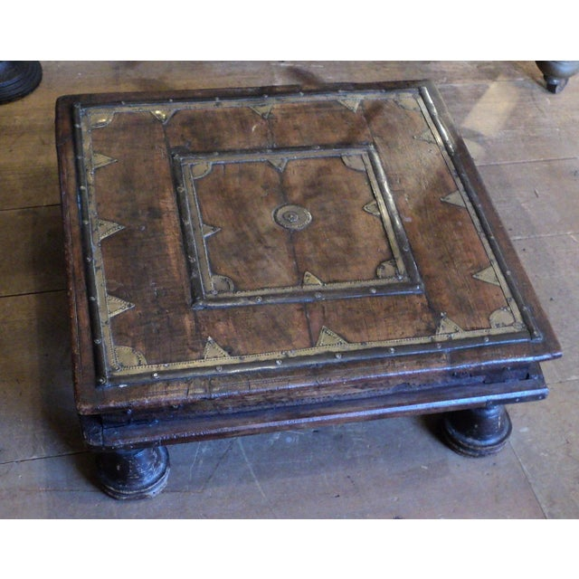 Antique Primitive Indian Wood & Brass Small Table - Image 9 of 9