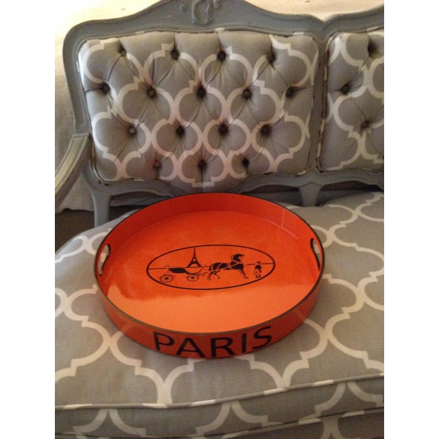 Orange Lacquered Hermes Inspired Bar Tray For Sale - Image 9 of 11
