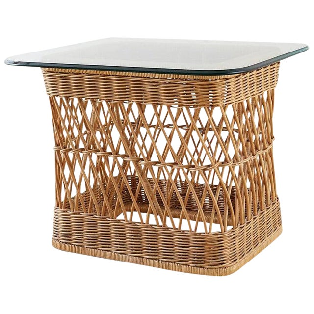 McGuire Organic Modern Rattan Wicker Coffee Cocktail Table For Sale