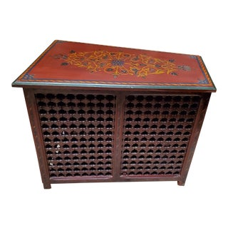 1990s Musharabi Hand Painted Solid Wooden Trunk For Sale