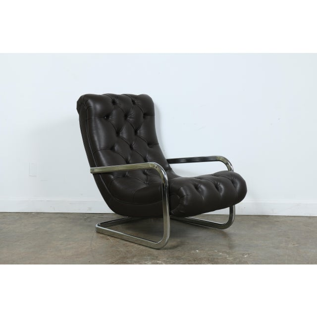Italian Italian Leather Chair and Ottoman For Sale - Image 3 of 11