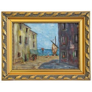 Vintage European Seascape Oil Painting W/ Gold Gilt Frame by M. Staff For Sale