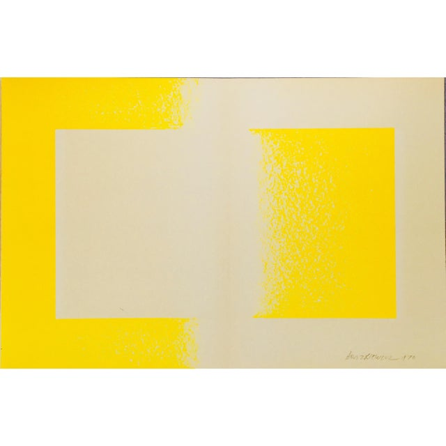 """This is a vintage lithograph print from 1971. The artist Richard Anuszkiewicz entitled the piece 'Yellow Reversed"""". Plate..."""