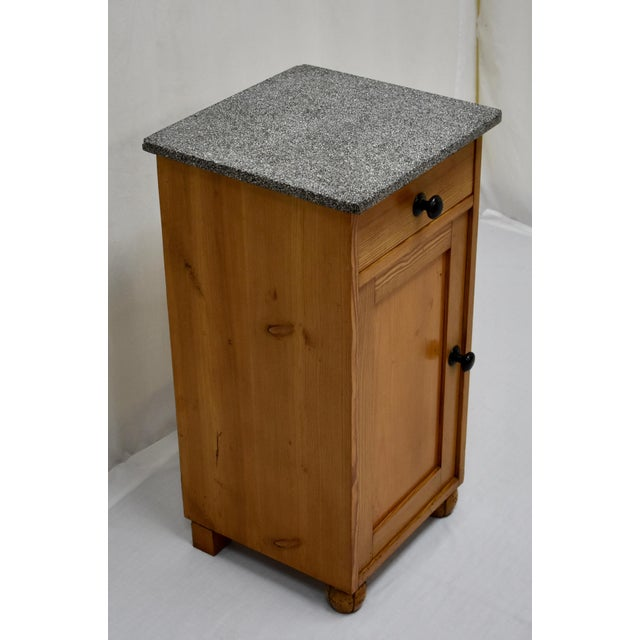 Pine Marble Top Nightstand For Sale - Image 4 of 13