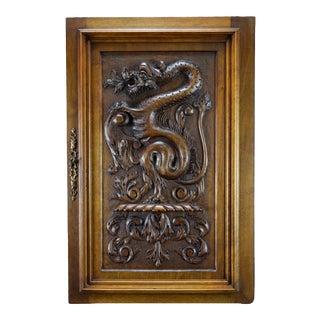 Antique Large Deep Carved Solid Wood Panel Door For Sale