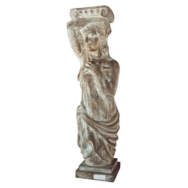 Tan Carved Solid Wood Figure or Pedestal For Sale - Image 8 of 8