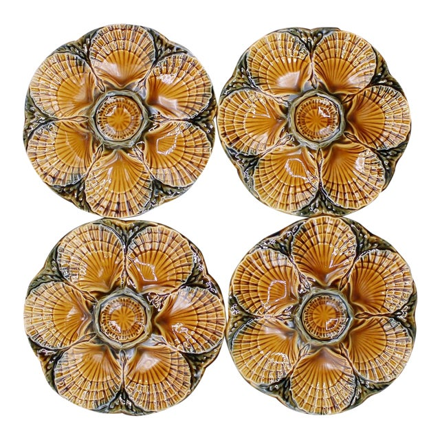 1930s French Sarreguemines Scallop Shell Oyster Plates - Set of 4 For Sale