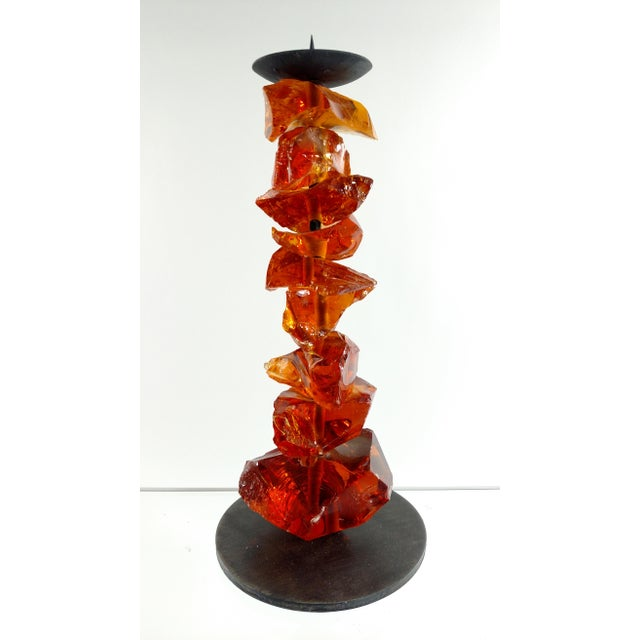 Murano Amber Glass Candlestick - Image 2 of 7