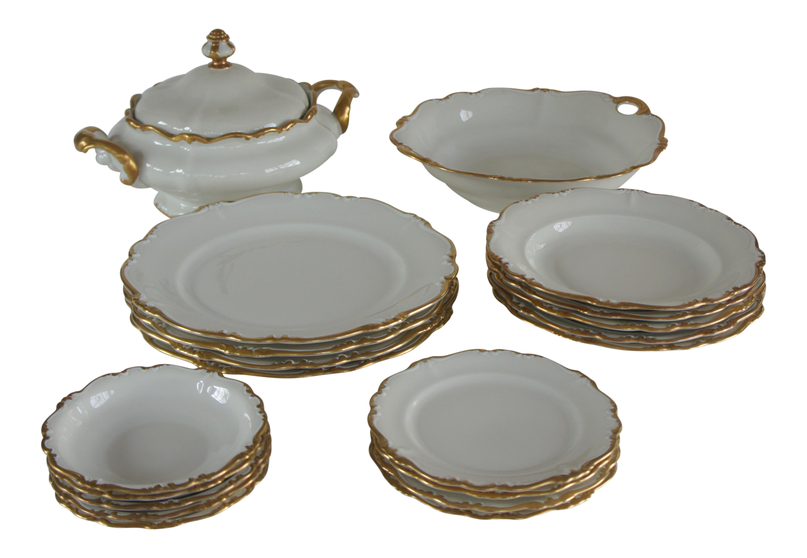 Rosenthal Pompadour Baroque Gold Dinnerware Set - Service for 4 Plus Extras - Image 1 of  sc 1 st  Chairish & Rosenthal Pompadour Baroque Gold Dinnerware Set - Service for 4 Plus ...