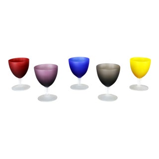 Set of 5 Small Multi-Colored Frosted Glass Wine Coupes or Cordial Glasses For Sale
