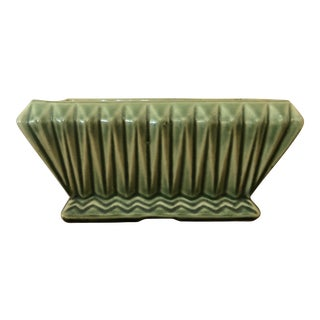 Vintage Mid-Century Brush McCoy Green Pottery Planter For Sale
