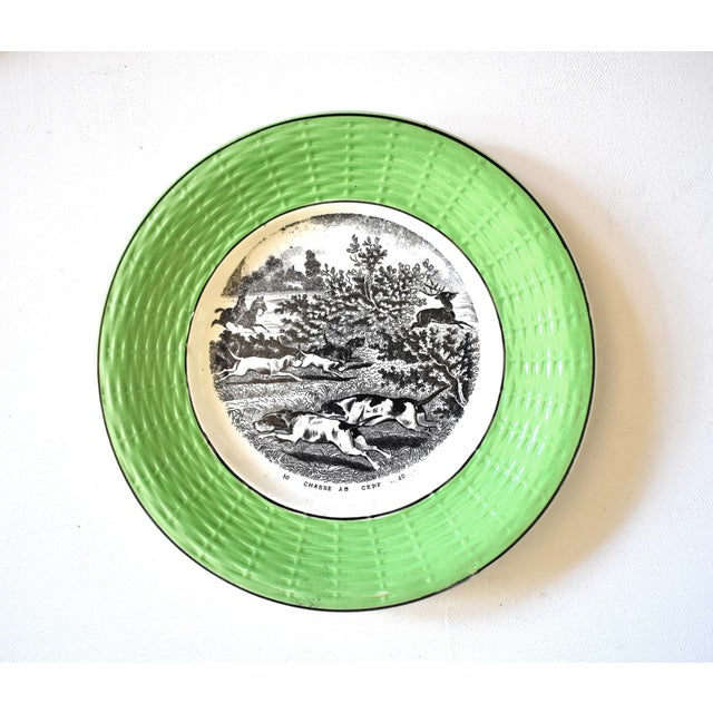 Digoin & Sarreguemines Antique French Digoin & Sarreguemines Hunting Scenes Plates - Set of 12 For Sale - Image 4 of 13