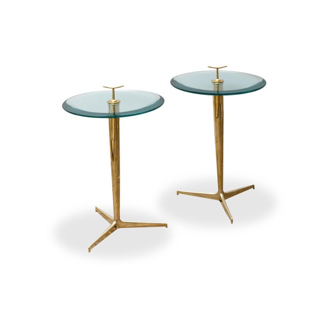 Brass Pair of Side Tables by Poggi Circa 1990 For Sale - Image 7 of 7