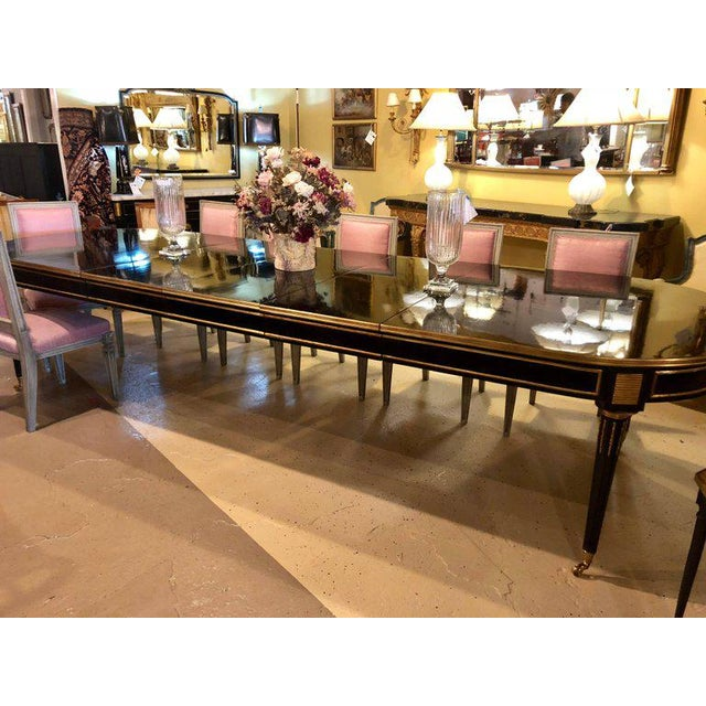 Black Ebonized Maison Jansen Style Twelve Foot Dining Table in Louis XVI Fashion For Sale - Image 8 of 11