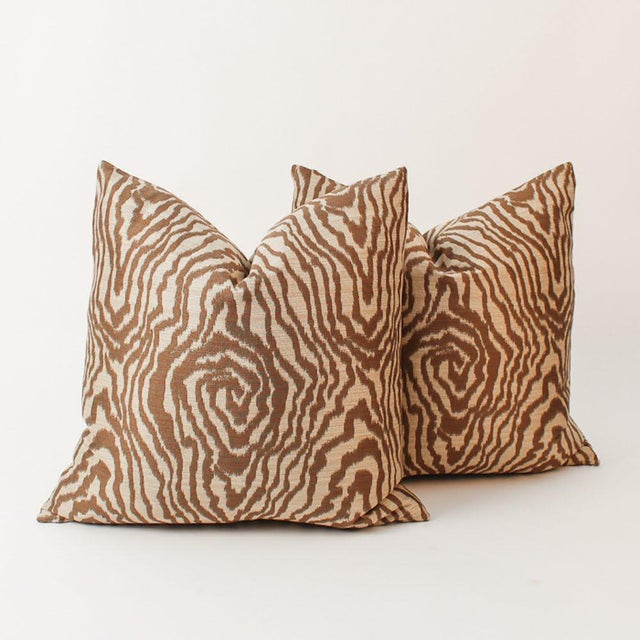 Sateen Faux Bois Tiger Pillows, a Pair For Sale In Atlanta - Image 6 of 6