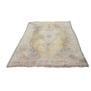 Semi-Antique Turkish Oushak Rug - 10′ × 13′3″ For Sale