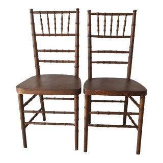 Vintage Faux Bamboo Side Dining Chairs