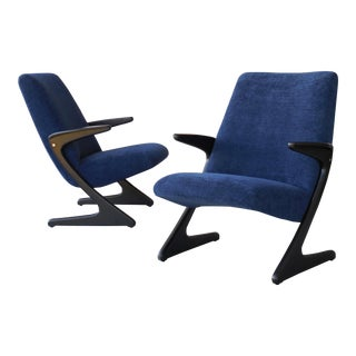 Pair of Blue Mid Century Chairs by Bengt Ruda
